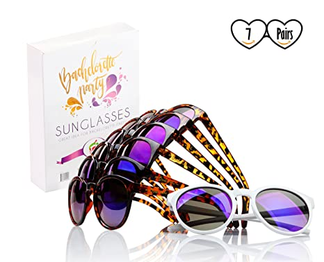 0fca9be2b7 Felitsa Bachelorette Party Sunglasses - 7 Pairs of Bride Tribe Glasses -  Perfect for Bridesmaid Gifts
