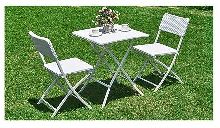 PRATIKO LIFE Juego de Mesa y sillas Plegables de polirratán, 62 x ...