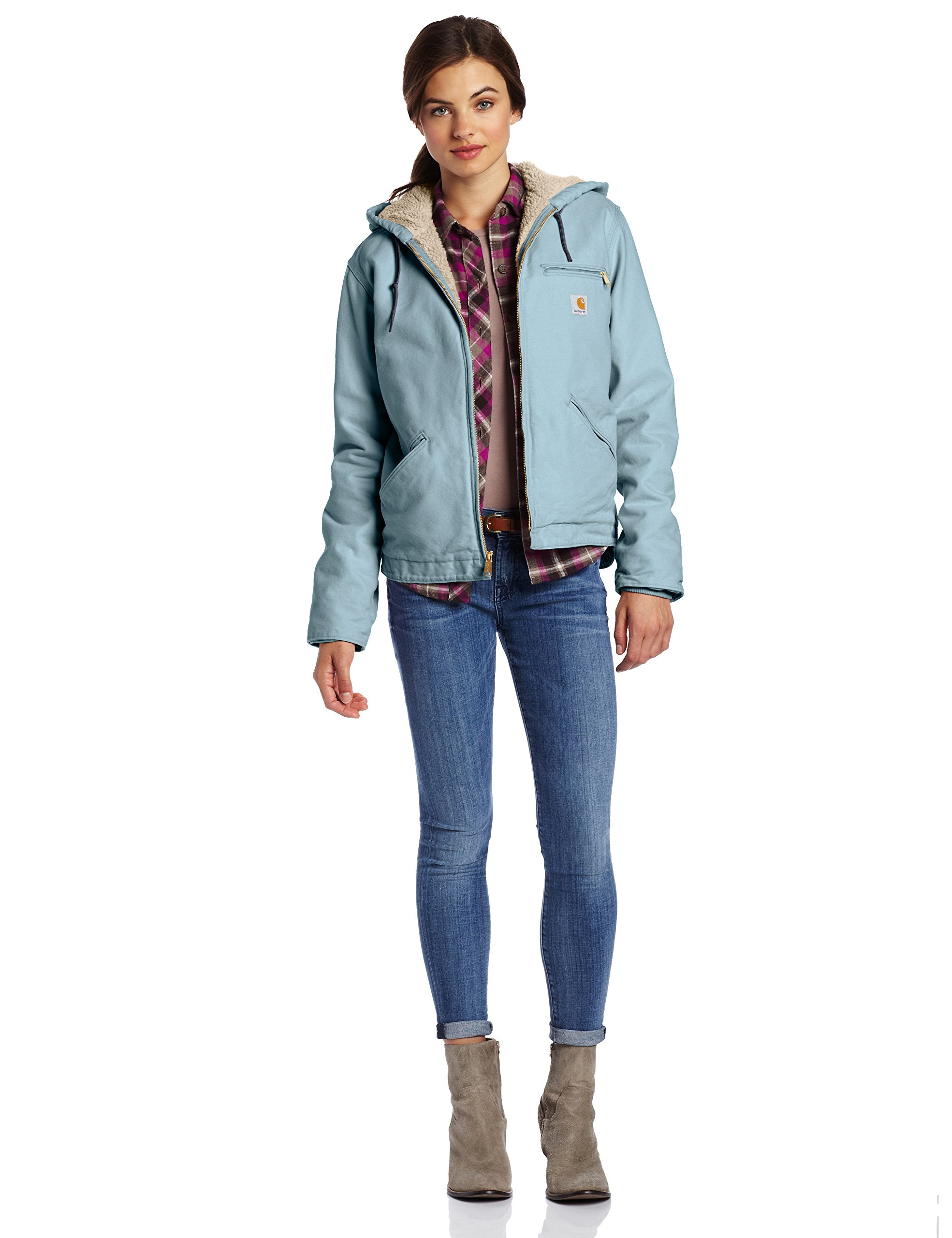 Carhartt Women's Sherpa Lined Sandstone Sierra Jacket (Regular and Plus Sizes), Sea Glass, X-Large by Carhartt