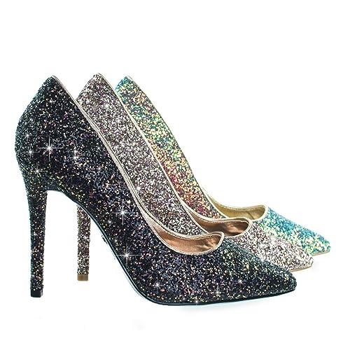 da83d503ca6 Rock Glitter High Heel Pointed Toe Dress Pump