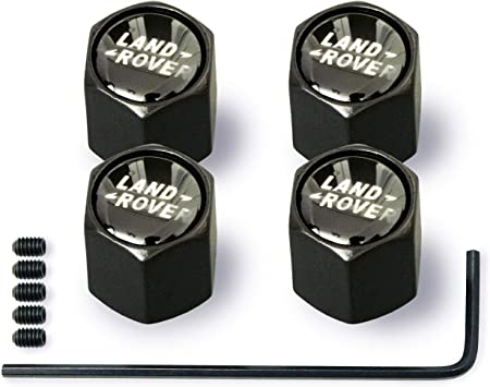 Anti-theft Wheel Tire Valve Stem Caps For Land Rover Black