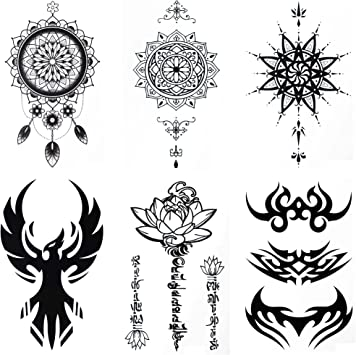 COKOHAPPY Temporales Tatuaje 6 Diferente hoja Sánscrito Loto ...