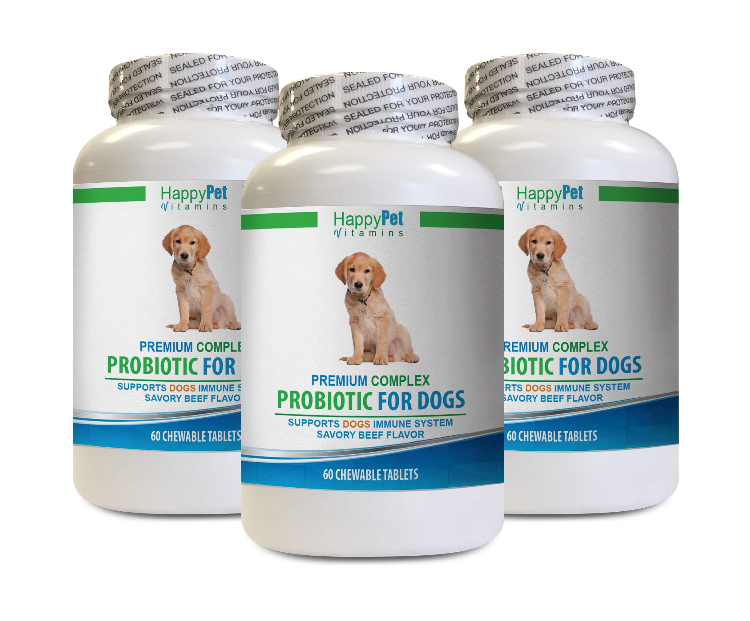 HAPPY PET VITAMINS LLC Dog Bad Breath Chews - Dog Premium PROBIOTICS - Savory Beef Flavor - Stops Diarrhea Bad Gas Bad Breath - Gut Health - Inulin Powder for Dogs - 3 Bottles (180 Treats) by HAPPY PET VITAMINS LLC