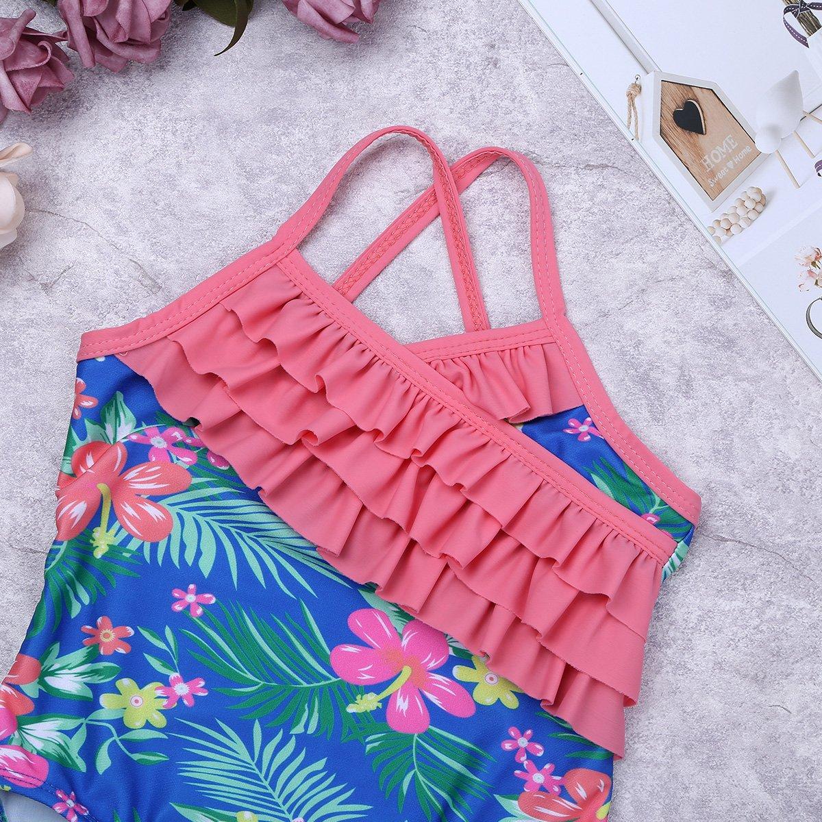 FEESHOW Toddler Baby Girls One Piece Swimsuit Polka Dot Swimwear Bathing Suit