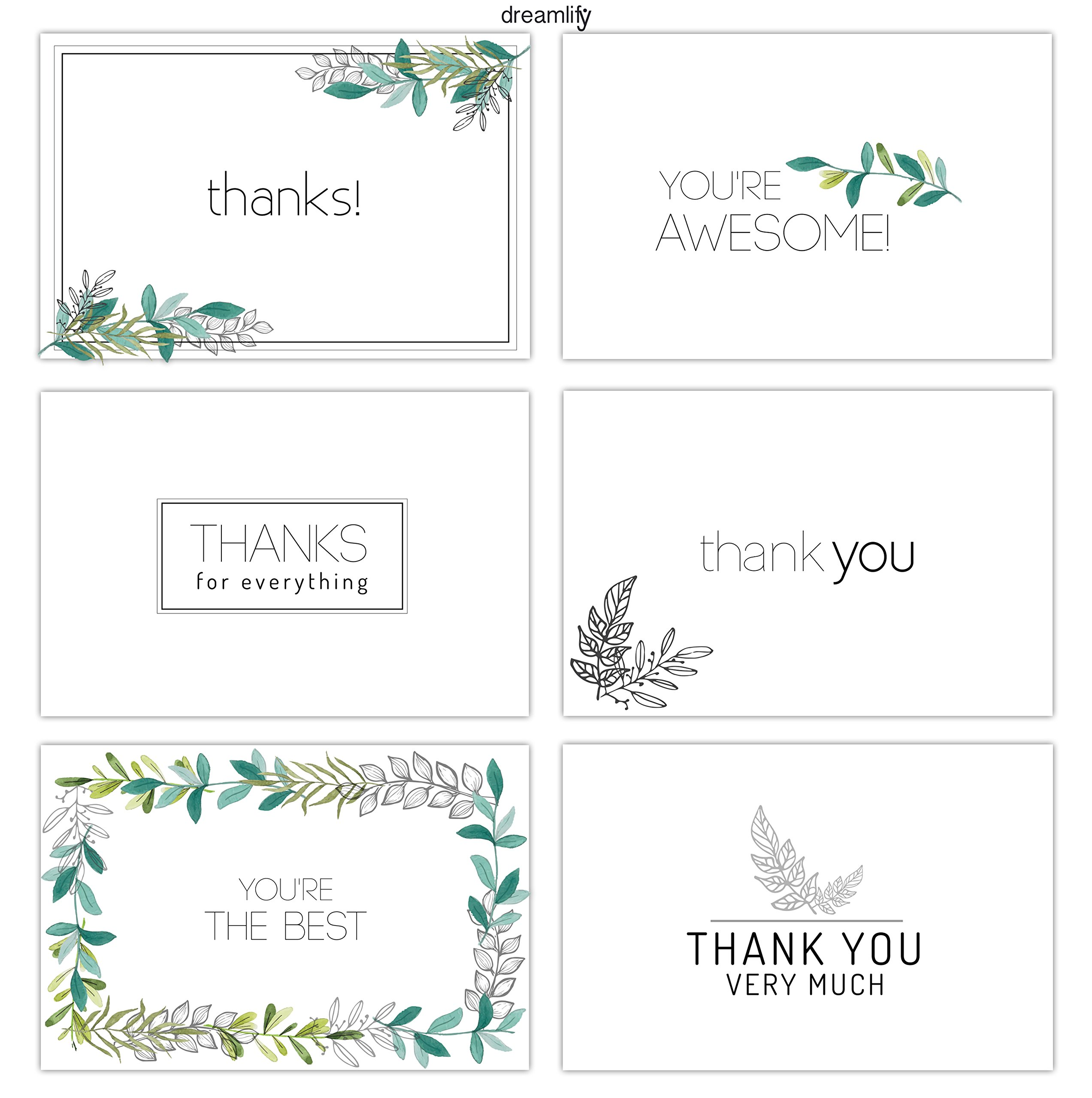 Minimalist Floral Thank You Cards - 36 Bulk Thank You Note Cards - Blank Cards Inside - Included Envelopes - Birthdays, Baby Showers and Business - 6 Designs by dreamlify