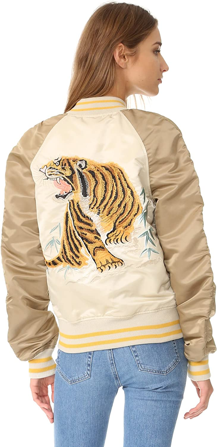 NEW ALPHA INDUSTRIES MA1 SOUVENIR TIGER JACKET BOMBER WHITE WOMENS FREE SHIP