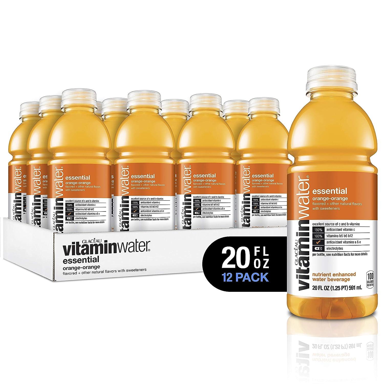 vitaminwater Electrolyte Enhanced Water with Vitamins, Essential Orange-Orange, 20 Fluid Ounce (Pack of 12)
