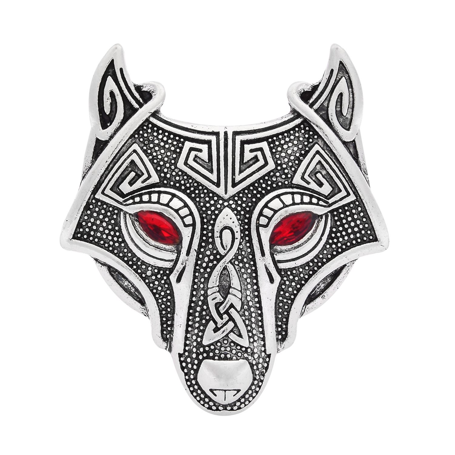 W WOOGGE Viking Norse Wolf Head Brooch Pin Gothic Pendant Irish Viking Penannular Clothes Fasteners Scarf Lapel Pin (Wolf Head(red Eye))