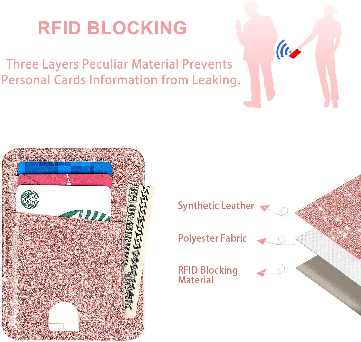 Rosado J/&D Brillante RFID Bloqueando Cartera de Bolsillo Frontal Glittering PU Cartera de Tarjeta de Cuero Titular de la Tarjeta Segura para Mujeres