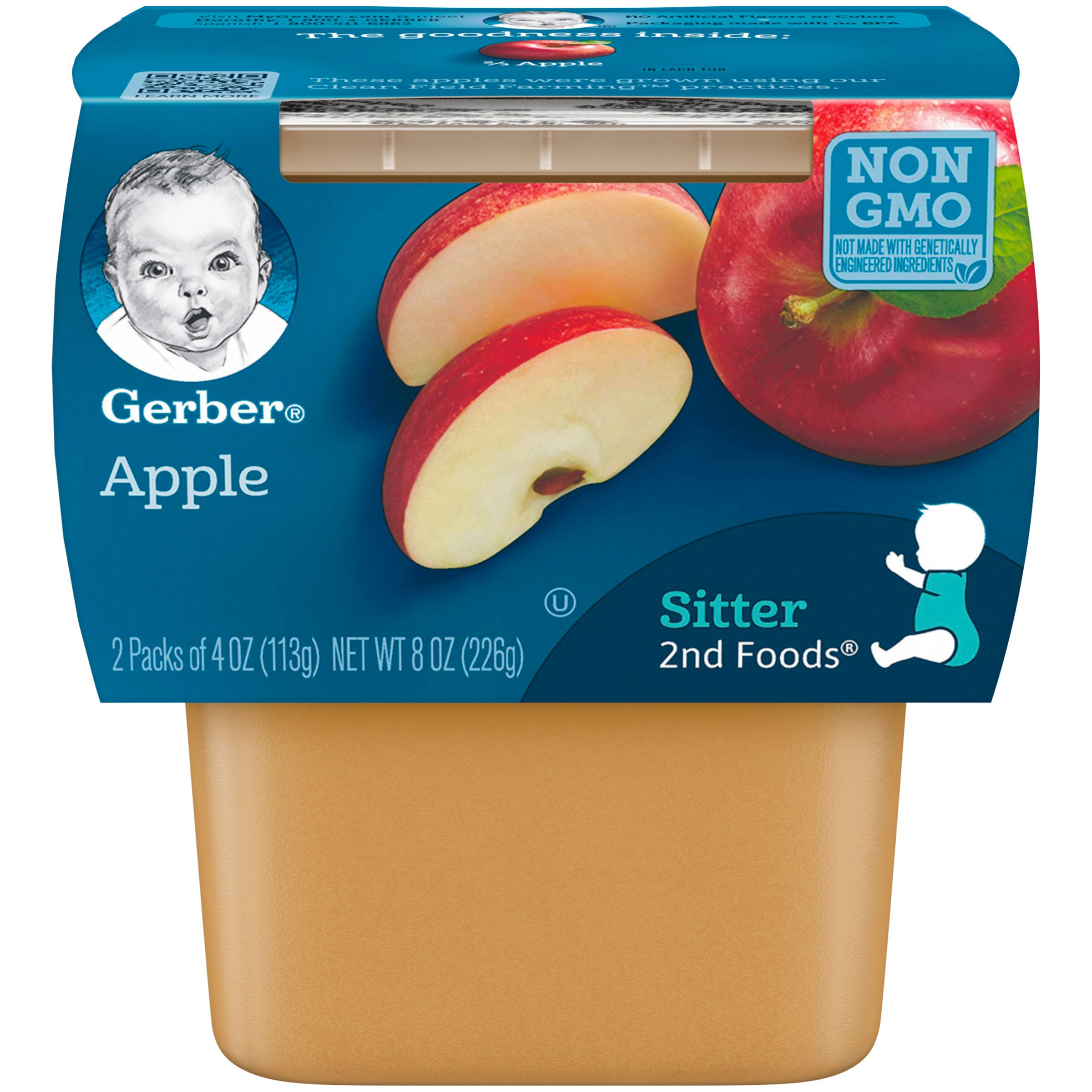 Gerber 2nd Foods Apples, 4 oz Tubs, 2 Count (Pack of 8) by Gerber