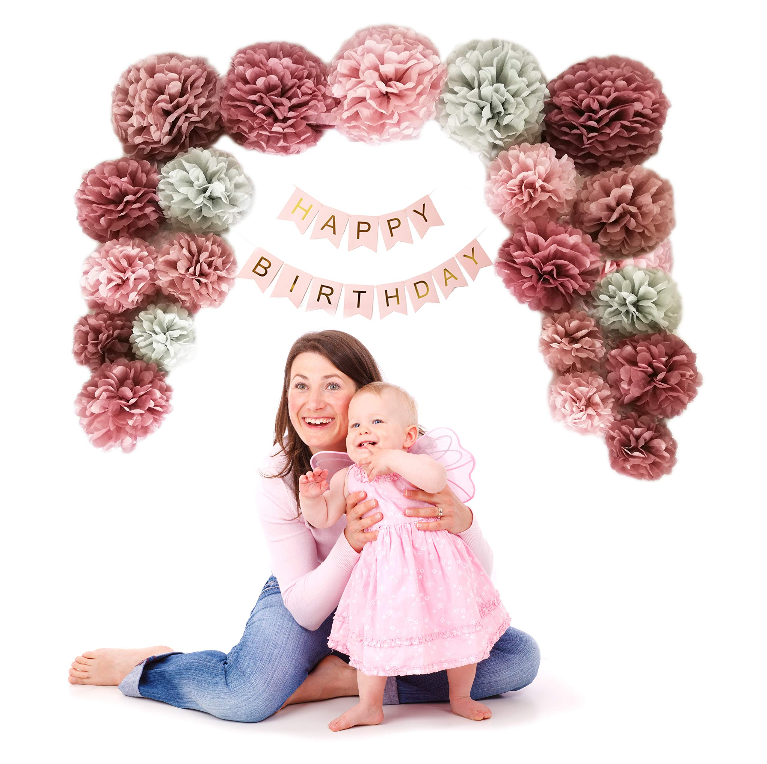 VINANT 20 PCS Tissue Paper Pom Poms - Paper Flower - Party Decoration for Birthday Party - Baby Shower - Bridal Shower - Wedding - Bachelorette - Dusty Rose, Mauve, Blush Pink, Grey - 14'', 10'', 8'', 6'' by VINANT (Image #7)