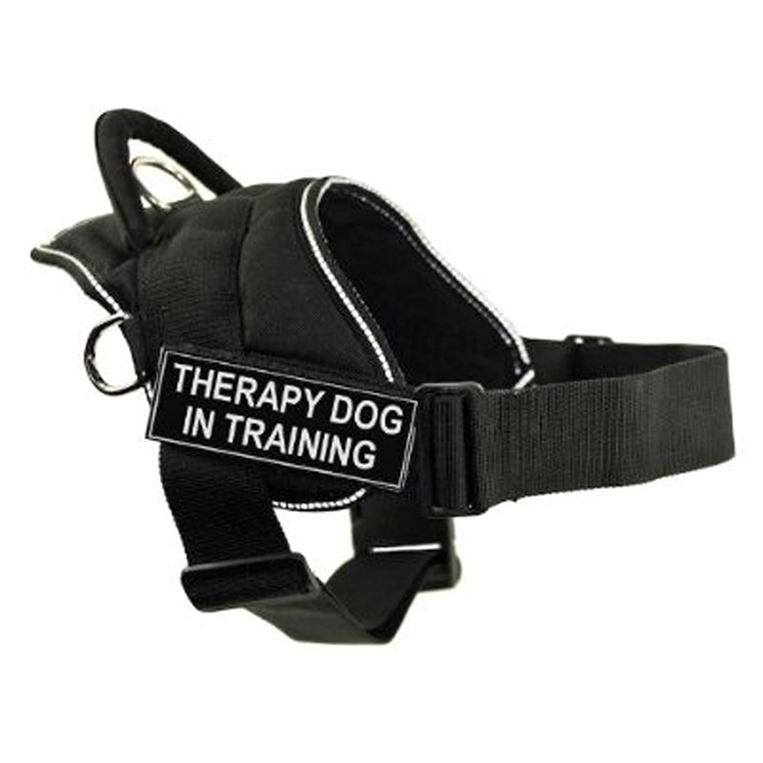 Dean & Tyler Fun Works Harness, Therapy Dog in Training, Black with Reflective Trim, Small, Fits Girth Size  22-Inch to 27-Inch