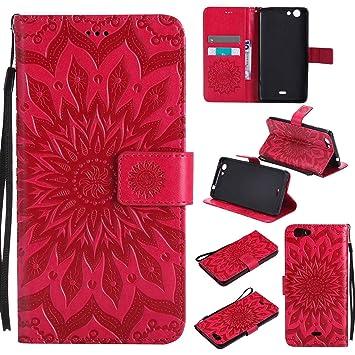 pinlu Flip Funda de Cuero para Wiko Pulp Fab 4G Carcasa con Función de Stent y Ranuras con Patrón de Girasol Cover (Rojo)