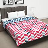Divine Casa Twilight Abstract 110 GSM Microfiber All Weather Double Dohar - Red and Blue
