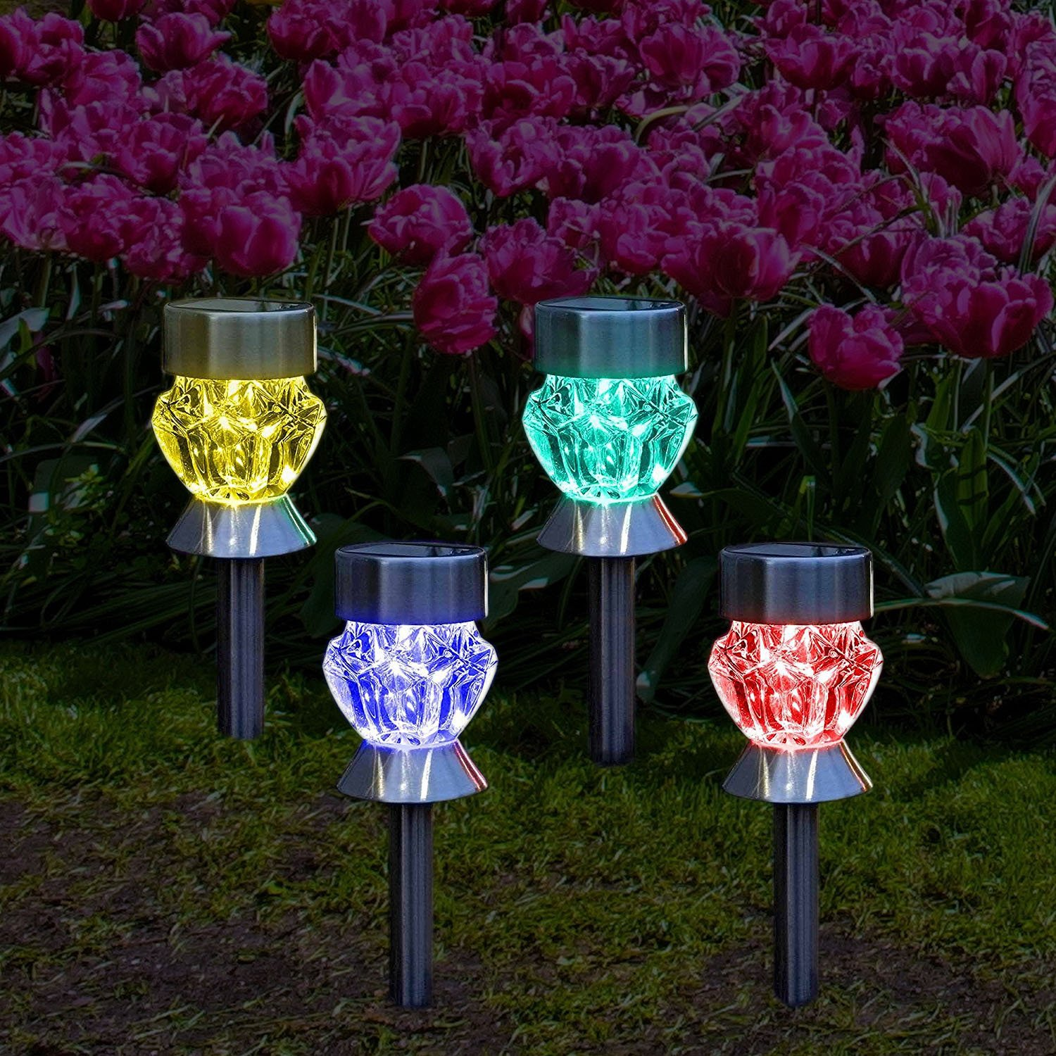 Galleon Solar Outdoor Lights 4 Color Changing Led