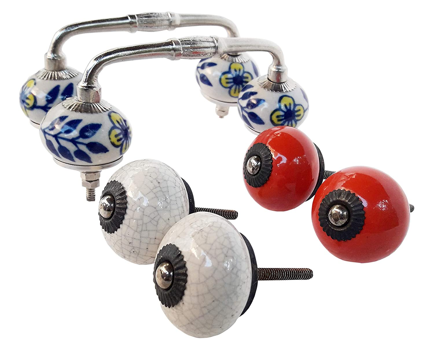Pulls Rare Hand Painted Ceramic Handle Pulls Cabinet Drawer Pull Indian Ceramic Handle//pulls Knobs Handmade Multicolor 2 Hnadle and 4 Knobs Door Handle