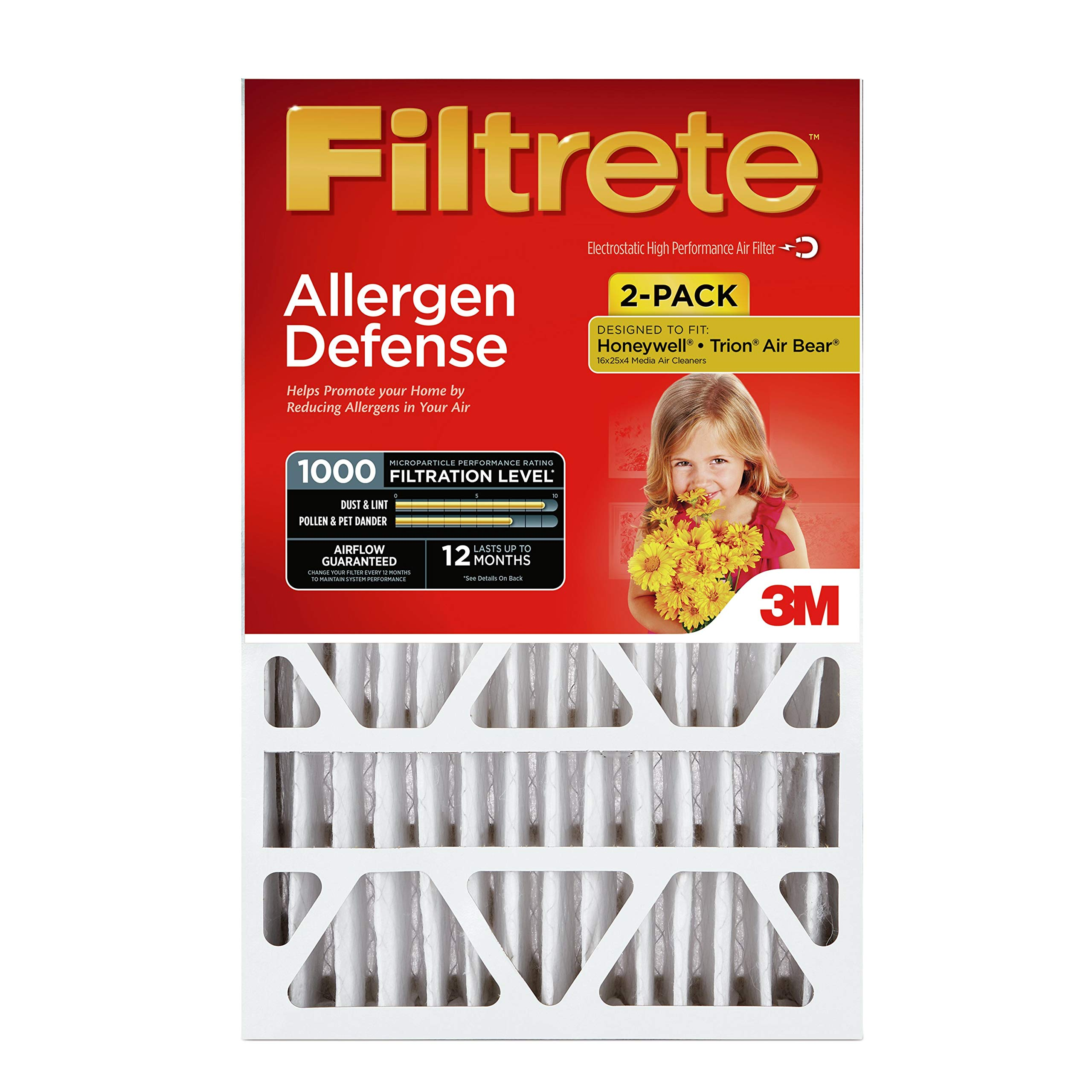 Filtrete 20x20x4, AC Furnace Air Filter, MPR 1000 DP, Micro Allergen Defense Deep Pleat, 2-Pack