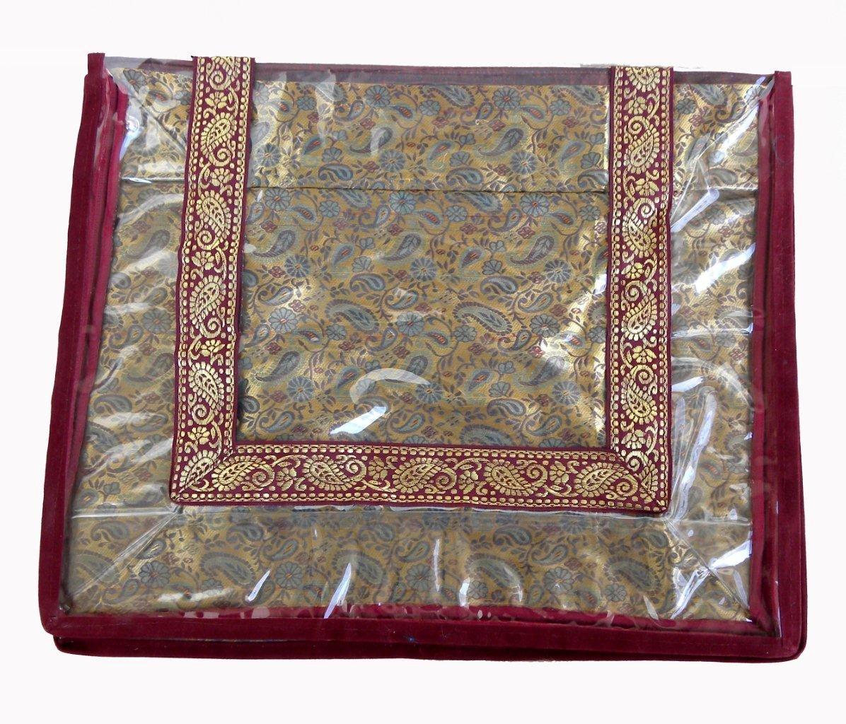 Mufaddal Traders 12 pc Oneside Clear Plastic Clothes Sari Saree Garment Storage, saree box cover Bags