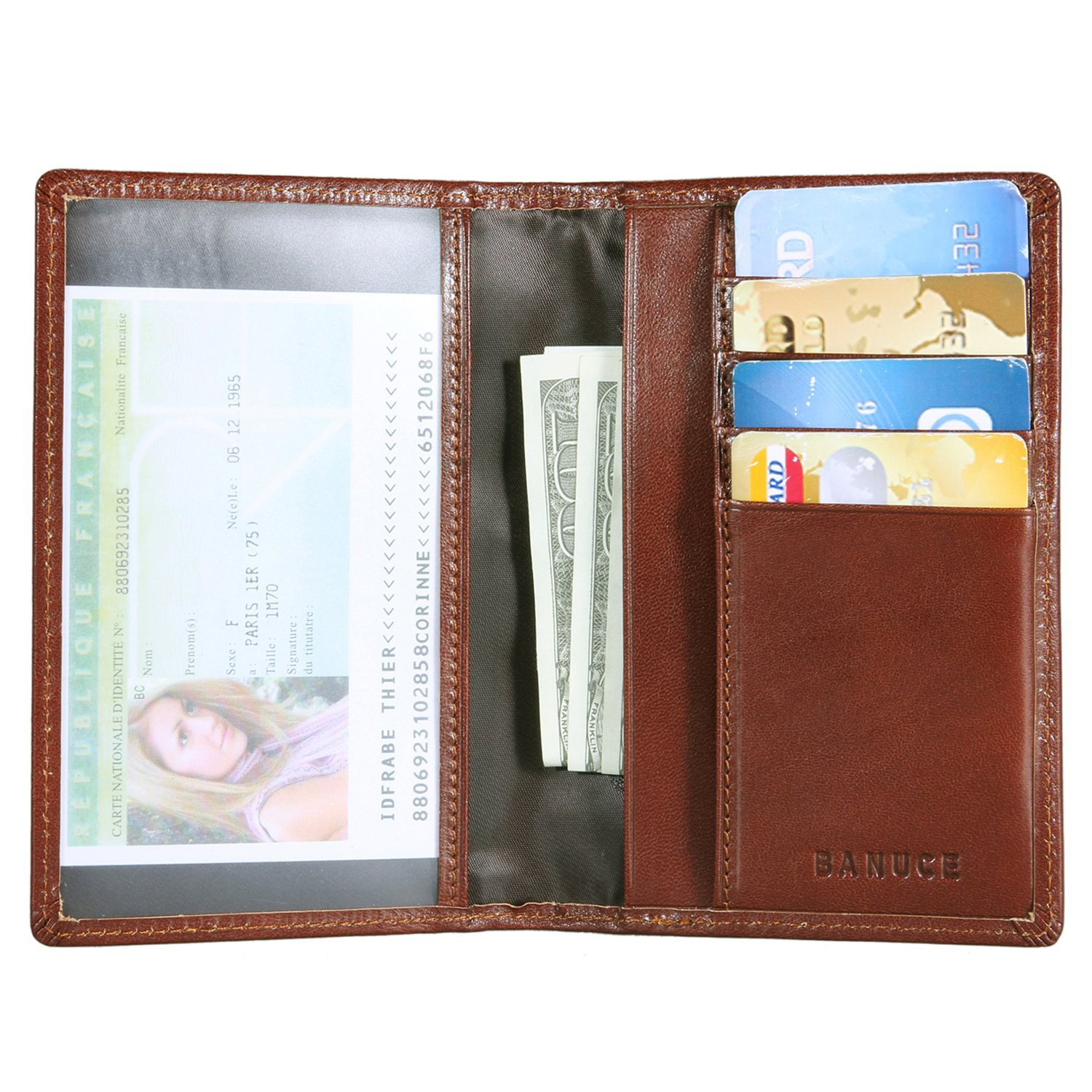 Banuce Italian Leather Passport Holder for Men Women Travel Passport Wallet Cover
