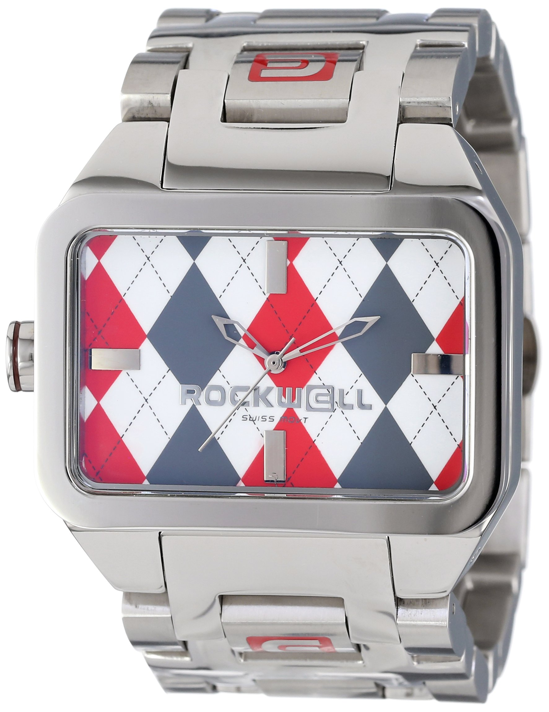 Rockwell Time Unisex DT103 Dual Time Stainless Steel and Red Argyle Watch