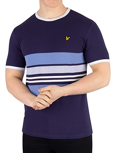 661e14f9a Lyle & Scott Uomo T-Shirt in Piquet a Righe, Blu: Amazon.it ...