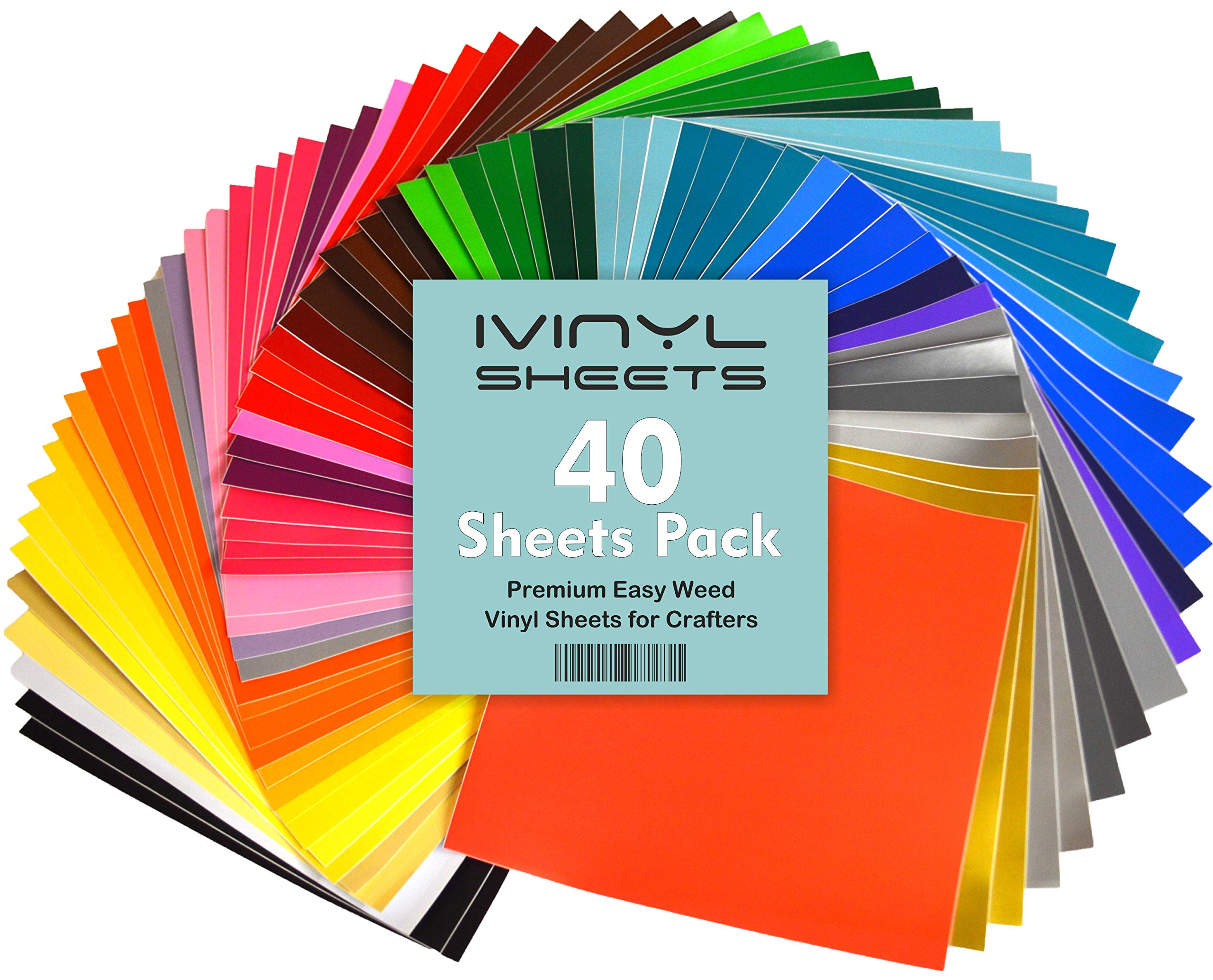 iVinyl - 40 Adhesive Sheets 12'' x 12'' Premium Permanent Self Adhesive Backed Vinyl Sheets - 40 Glossy & Matt Assorted Colors Sheets for Cricut, Craft Cutters, Silhouette Cameo & Crafting Machines