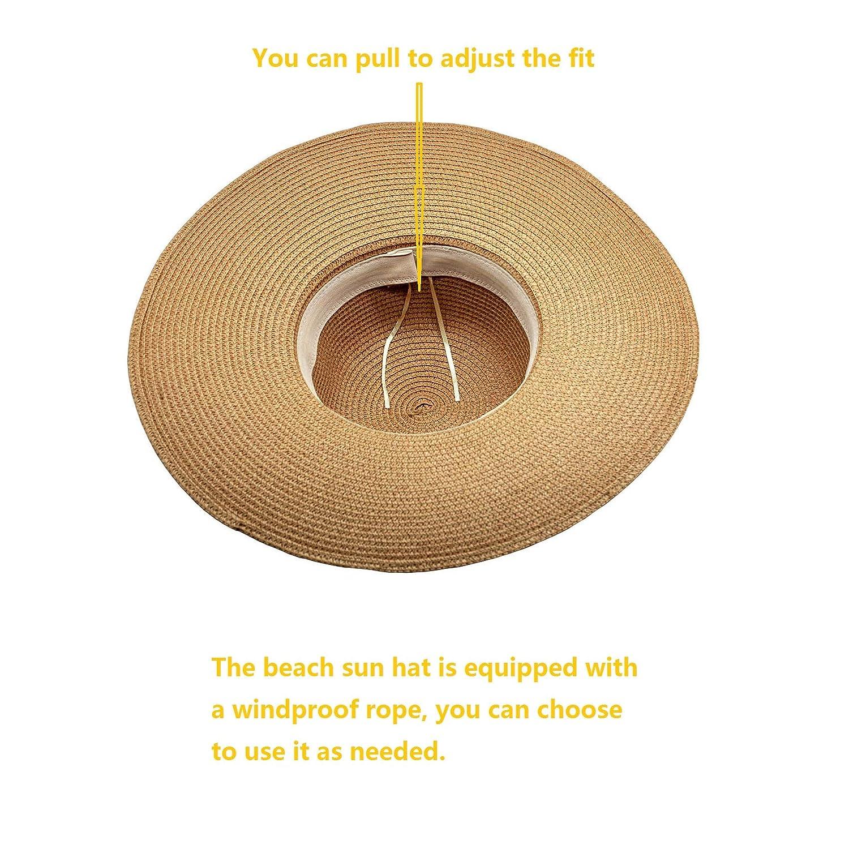 DAN SHANG Cappelli da Sole Donna Vacanza di Viaggio UV del Cappello di Protezione del Sole del Cappello di Paglia di Estate del Cappello della Spiaggia