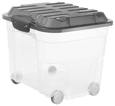 Rotho Roller - Caja de Almacenamiento con 6 Ruedas, plástico, Antracita, Roller 4
