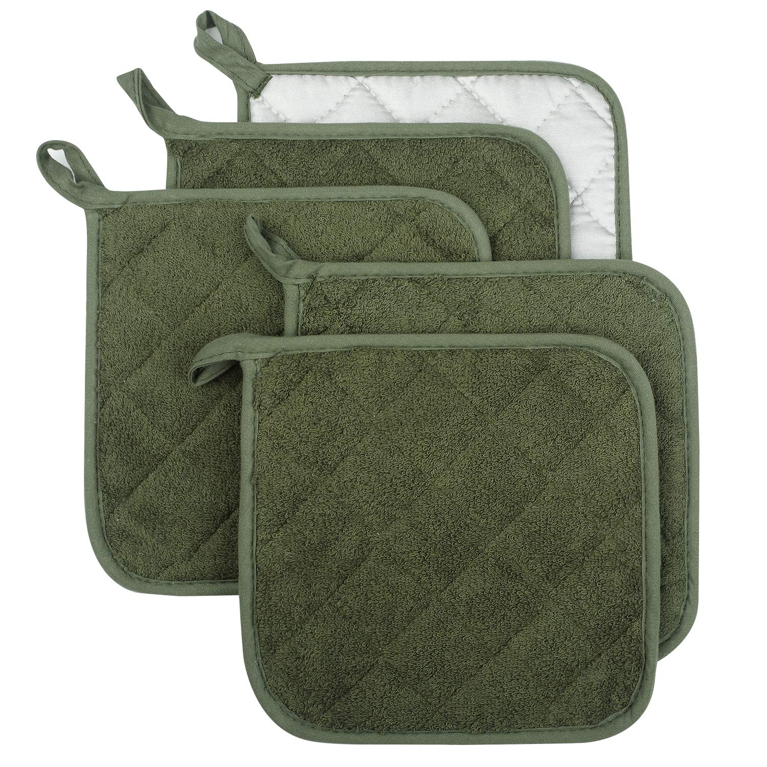 Lifaith 100% Cotton Kitchen Everyday Basic Terry Pot Holder Heat Resistant Coaster Potholder for Cooking and Baking Set of 5 Olive Green