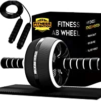 Fitness Invention Ab Roller - Ab Wheel With Jump Rope, Knee Mat - Ab Roller Wheel - Ab Wheel Roller For Core Workout…