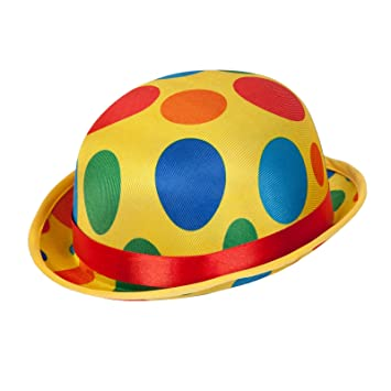 Adult Clown Bowler Hat Fancy Dress Accessory Circus Coco Carnival Spotty  Funny 54d40c017d37