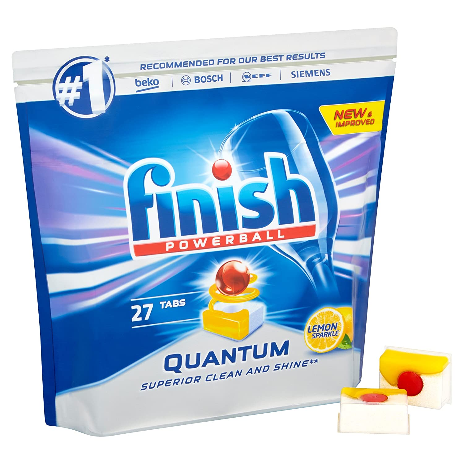 c79250c30db7 Finish Quantum Powerball Dishwasher Tablets, Lemon Sparkle, 8 x 27 (216  Tablets): Amazon.co.uk: Health & Personal Care