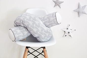 KraftKids Bettrolle weiße Pfeile auf Grau Rollenlänge 200 cm