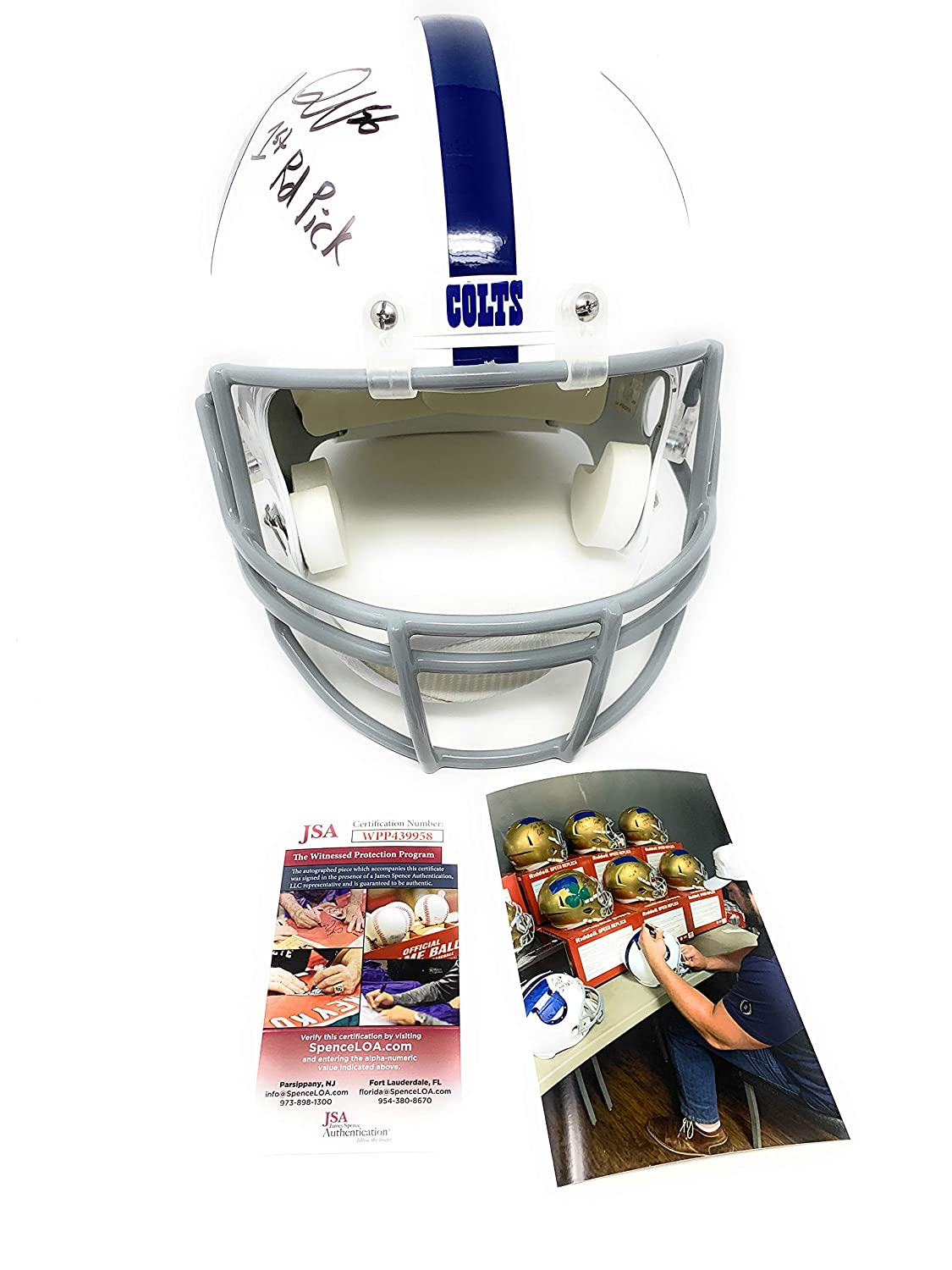 Quenton Nelson Indianapolis Colts Signed Autograph Full Size Helmet 1st Round Pick Inscribed JSA Witnessed Certified