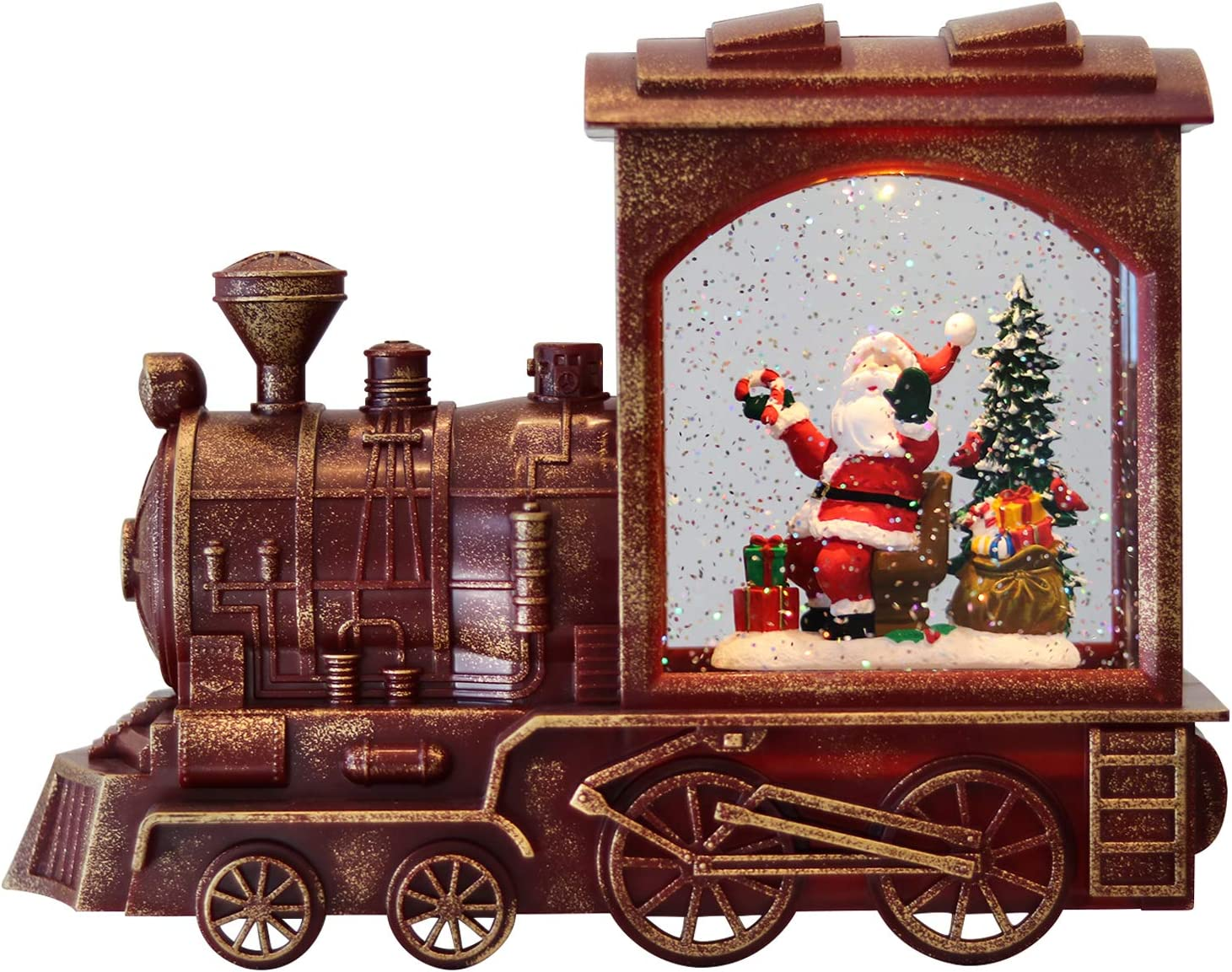 Eldnacele Singing Christmas Train Snow Globe with Music & Timer, Lighted-up Battery Operated Glittering Lantern for Christmas Table Centerpiece Decoration and Gift- Santa