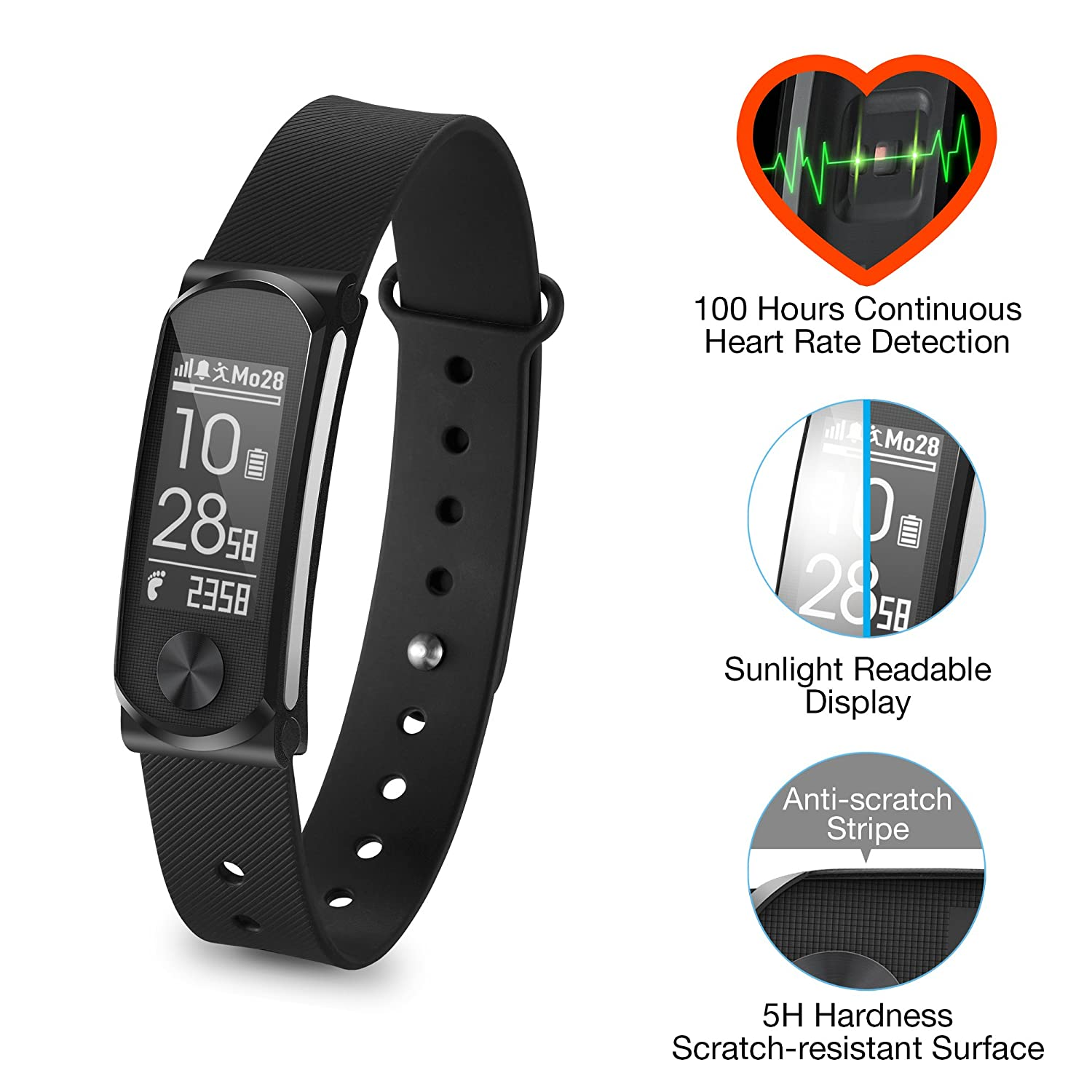 Q Band 68hr Accurate Health Fitness Tracker Watch Heart Rate Monitor Circuit Diagram Click For Larger Image 100 Hours Bluetooth Activity Sunlight Readable Scratch Resistant Big Screen Pedometer Sports Outdoors