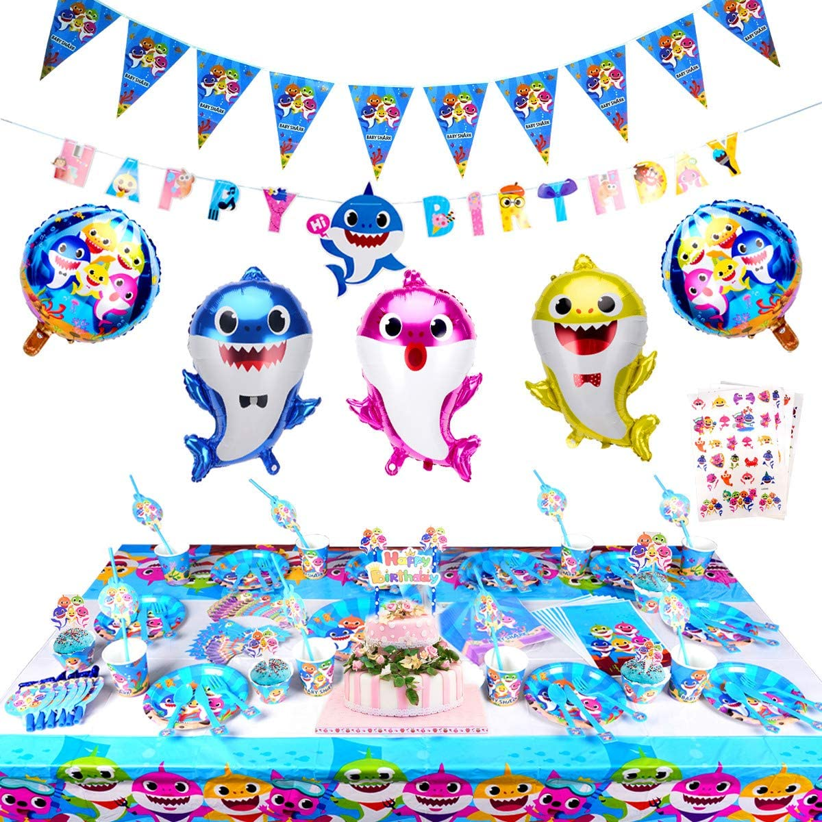 289 Pcs Baby Cute Shark Party Supplies Set,Shark Baby Birthday Decoration-Disposable Tableware Cake Topper Gift Bag Pennant Plates Spoon Cups Napkins Straws Shark Tattoos Kids Carnival Party Supplies