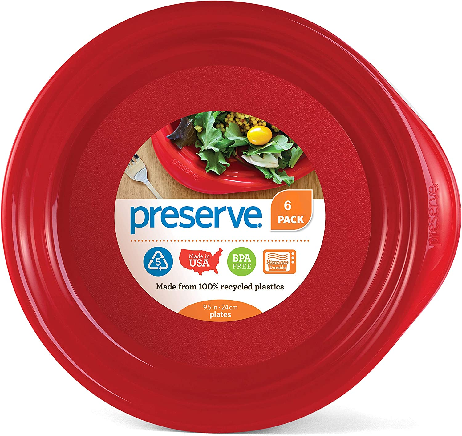 Preserve Everyday BPA Free Dinner Plates Made from Recycled Plastic, Set of 6, Pepper Red
