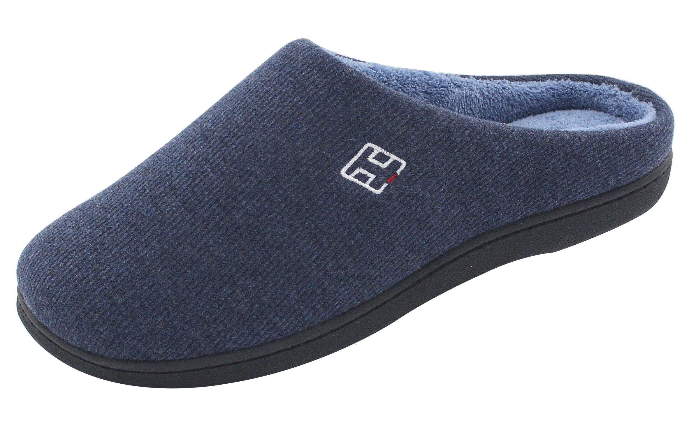 HomeIdeas Men's Cotton Memory Foam Anti-Slip Slip On House Slippers (Medium / 9-10 D(M) US, Navy Blue)