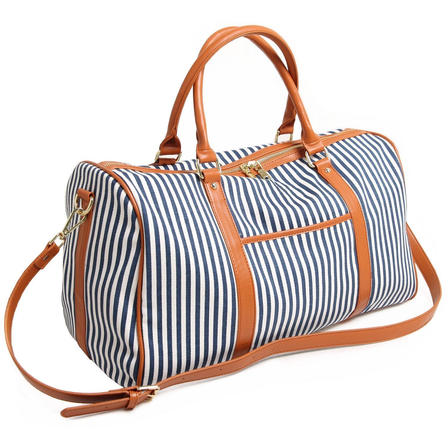 Women Canvas Travel Duffel Bags Overnight Carry Bag PU Leather Weekender Tote Handbags (Blue)