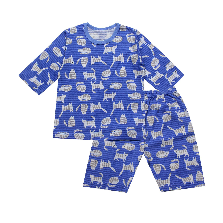 OllCHAENGi Toddler Kids Boys Girls Cotton Pajama Set 3//4 Sleeve 3T-14Y Cat Blue