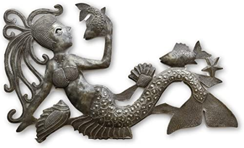 Talking with Fish, Mermaid, Artistic Haiti Metal Steel Drum Art 17 x 10 Inches