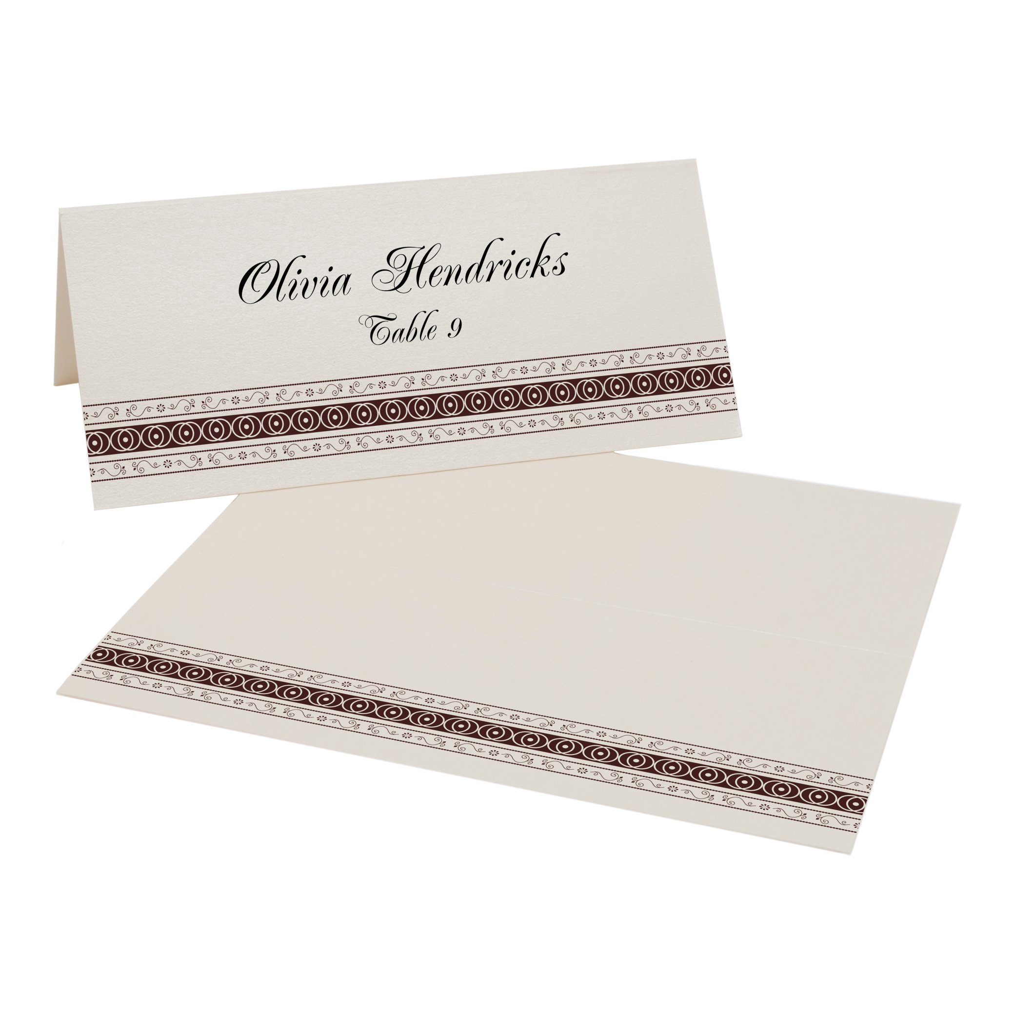 Mumbai Inspired Border Place Cards, Champagne, Chocolate, Set of 375 by Documents and Designs
