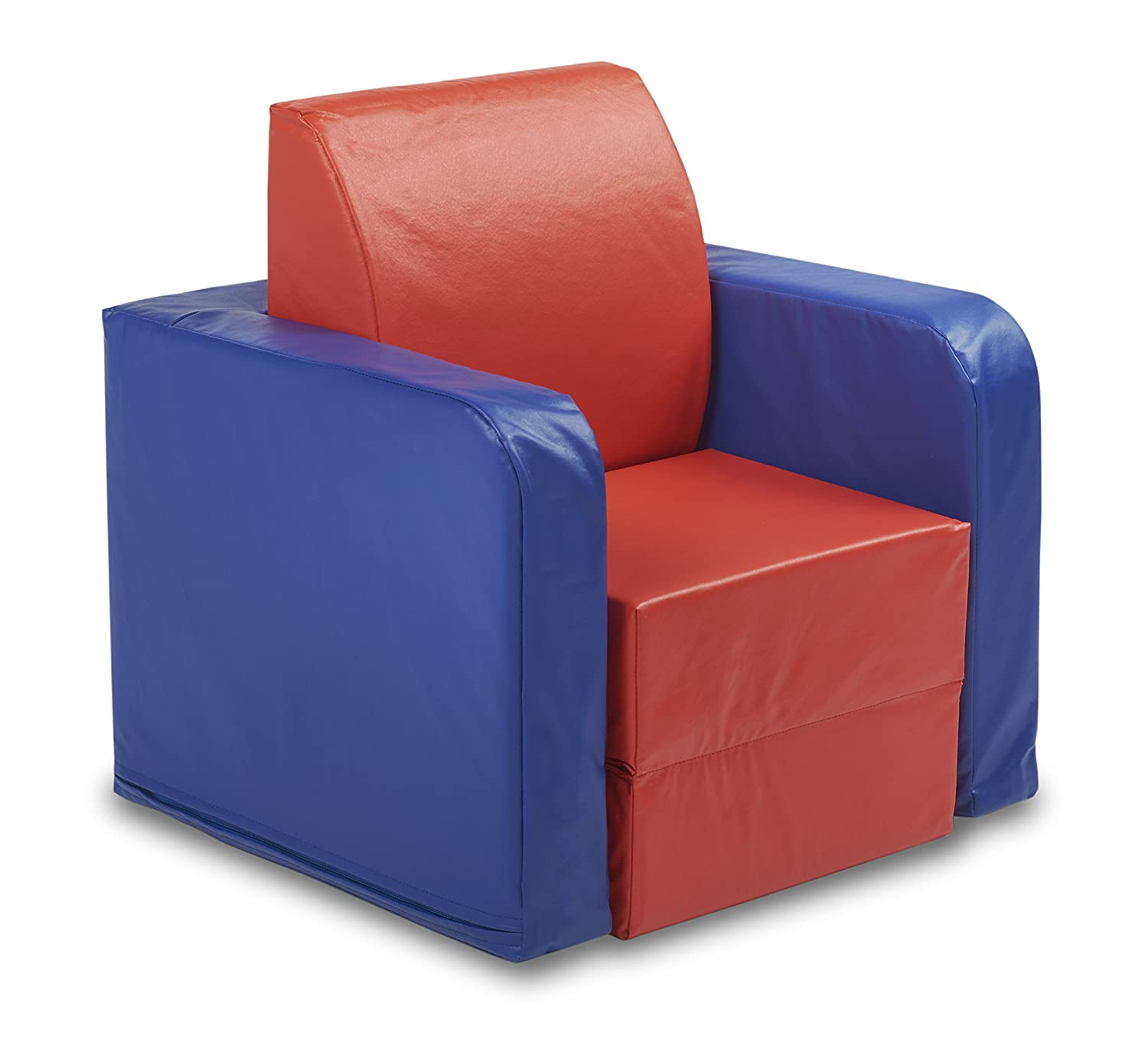 ECR4Kids SoftZone Convertible Kids Club Chair, Blue/Red