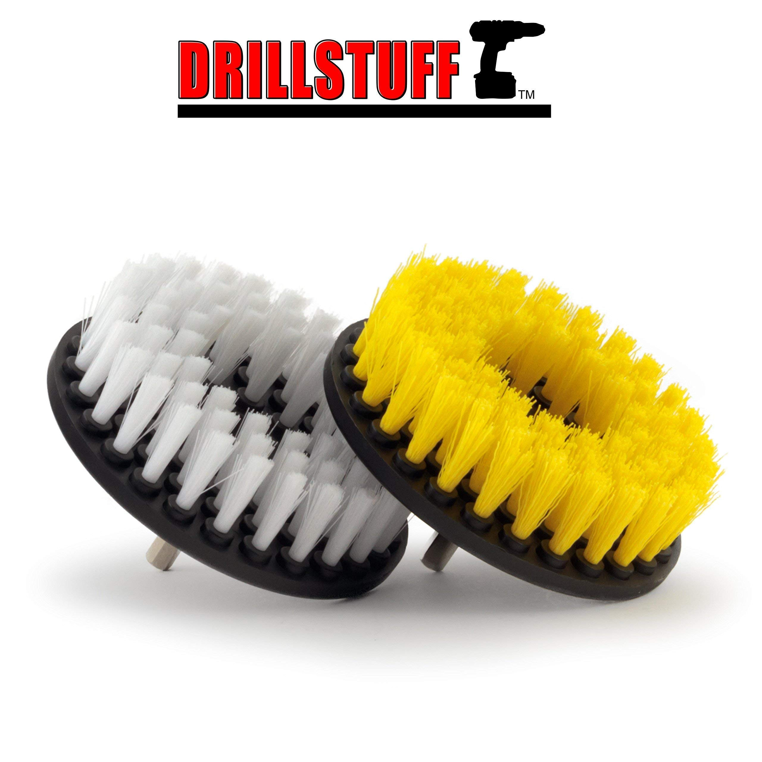 2 Piece, Soft & Medium Drill Brush- Power Scrubbing Brush Drill Attachment for Cleaning Showers, Tubs, Bathrooms, Tile, Grout, Carpet, Tires, Boats by Drillstuff