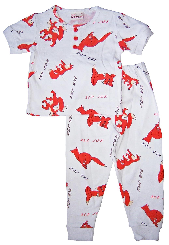 US Giftwear 100/% Cotton Red Fox Short Sleeve Pajama Set Size:12m-6x