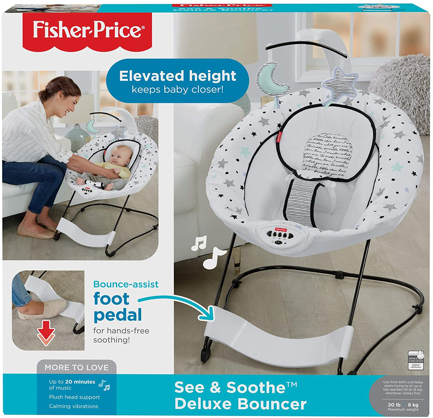 Starry Night See /& Soothe Fisher-Price Deluxe Bouncer