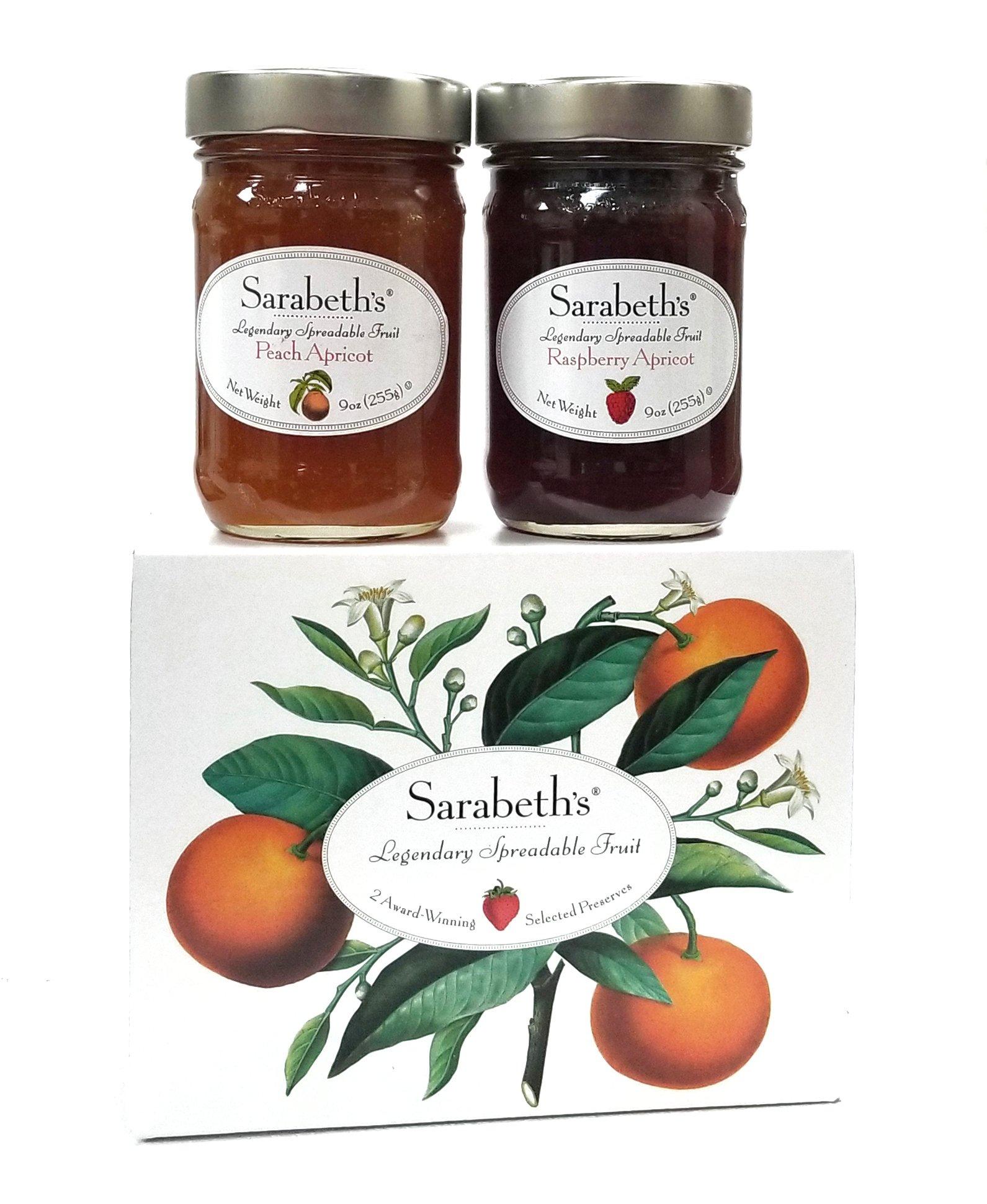 Sarabeth's Two Jar Gift Box Set - Two 9 oz. jars - Peach Apricot & Raspberry Apricot