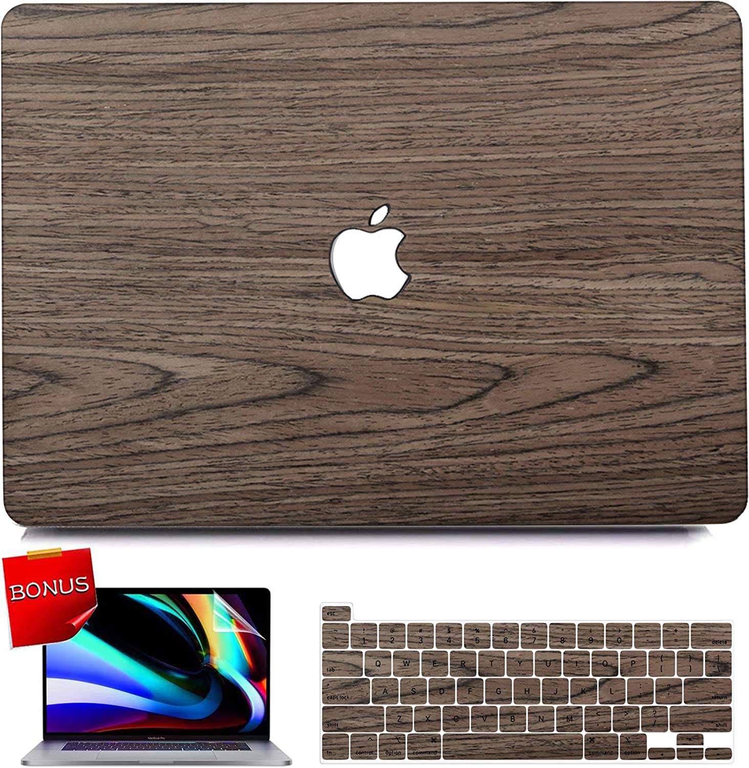 MacBook Air 13 inch Case 2020 Release A2179 A1932 with Retina Display, iPAPA Slim Wood Snap on Protective Hard Case + Keyboard Cover + Screen Protector Compatible for Apple Mac Pro 13 with Touch ID