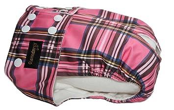 Rosa tela – resistente al agua Hembra perro cintura pañal para incontinencia/pañales – botones